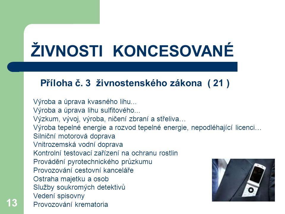 13 ŽIVNOSTI KONCESOVANÉ Příloha č. 3 živnostenského zákona ( 21 ) Výroba a úprava kvasného lihu... Výroba a úprava lihu sulfitového... Výzkum, vývoj,
