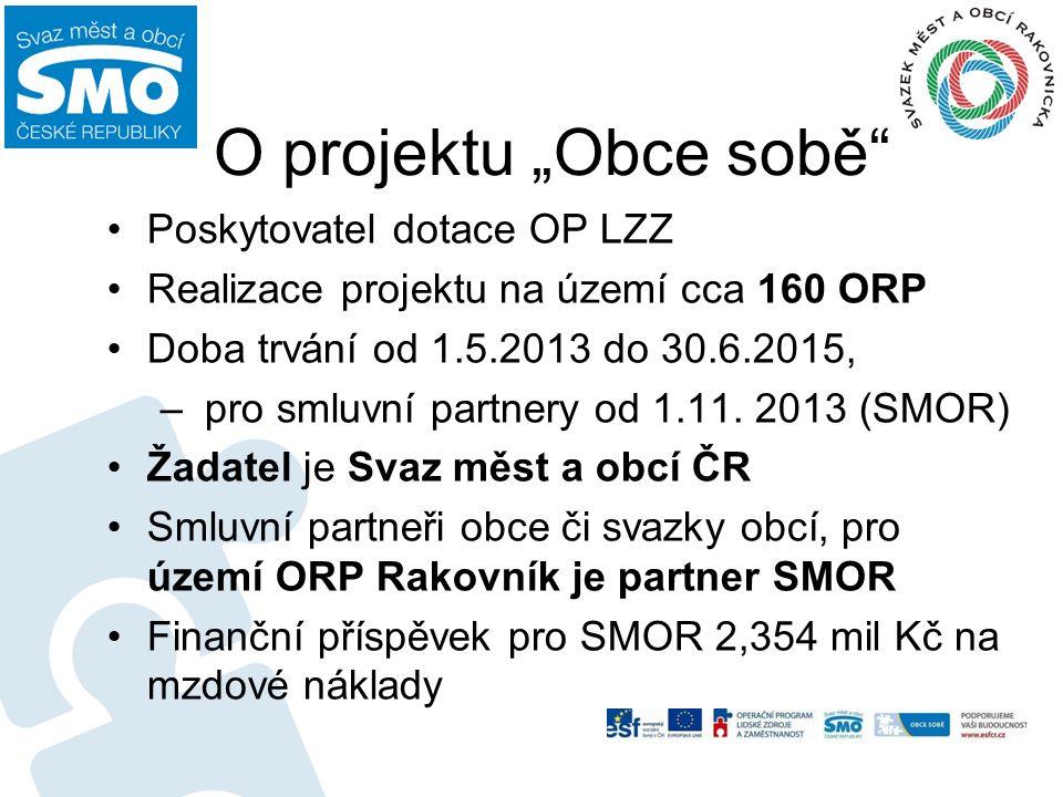 """O projektu """"Obce sobě"""" Poskytovatel dotace OP LZZ Realizace projektu na území cca 160 ORP Doba trvání od 1.5.2013 do 30.6.2015, – pro smluvní partnery"""