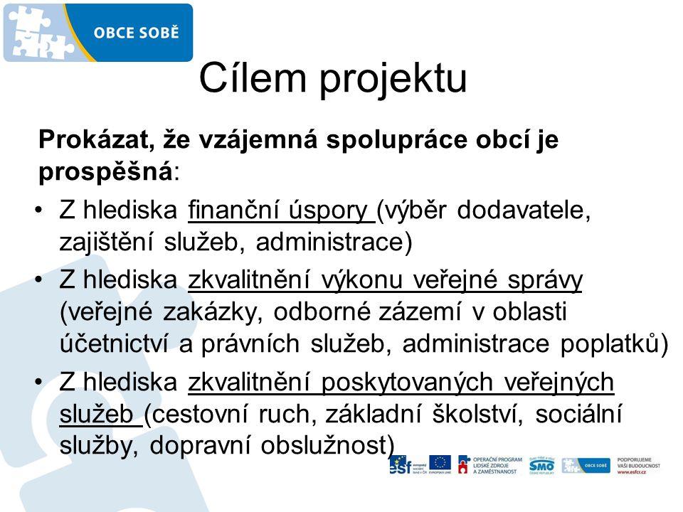 Cílem projektu Prokázat, že vzájemná spolupráce obcí je prospěšná: Z hlediska finanční úspory (výběr dodavatele, zajištění služeb, administrace) Z hlediska zkvalitnění výkonu veřejné správy (veřejné zakázky, odborné zázemí v oblasti účetnictví a právních služeb, administrace poplatků) Z hlediska zkvalitnění poskytovaných veřejných služeb (cestovní ruch, základní školství, sociální služby, dopravní obslužnost)