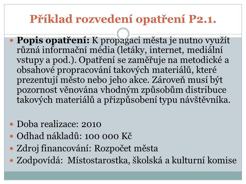 Příklad rozvedení opatření P2.1.