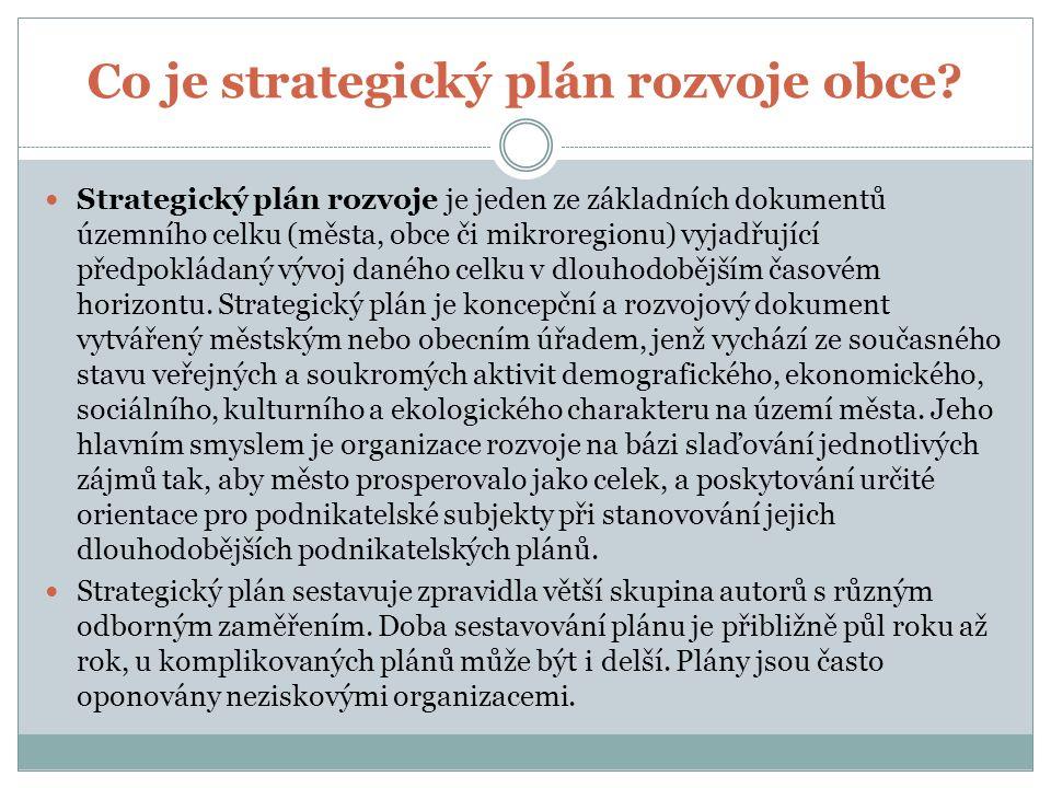 Co je strategický plán rozvoje obce.