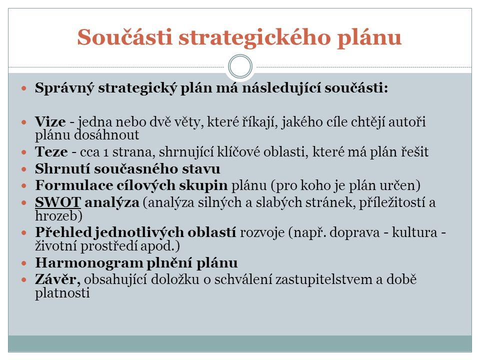 Součásti strategického plánu Správný strategický plán má následující součásti: Vize - jedna nebo dvě věty, které říkají, jakého cíle chtějí autoři plánu dosáhnout Teze - cca 1 strana, shrnující klíčové oblasti, které má plán řešit Shrnutí současného stavu Formulace cílových skupin plánu (pro koho je plán určen) SWOT analýza (analýza silných a slabých stránek, příležitostí a hrozeb) Přehled jednotlivých oblastí rozvoje (např.