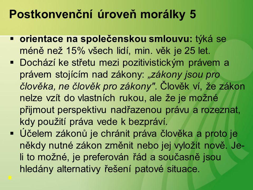 Postkonvenční úroveň morálky 5  orientace na společenskou smlouvu: týká se méně než 15% všech lidí, min.