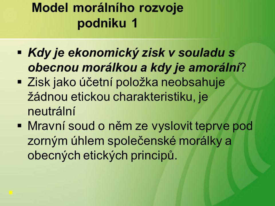 Model morálního rozvoje podniku 1  Kdy je ekonomický zisk v souladu s obecnou morálkou a kdy je amorální.