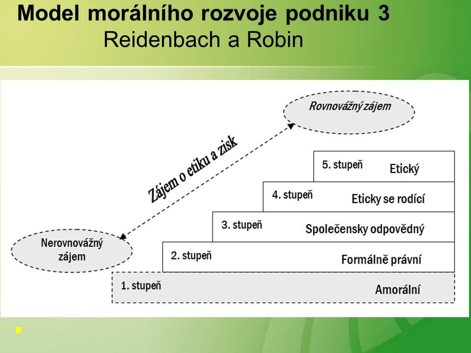 Model morálního rozvoje podniku 3 Reidenbach a Robin