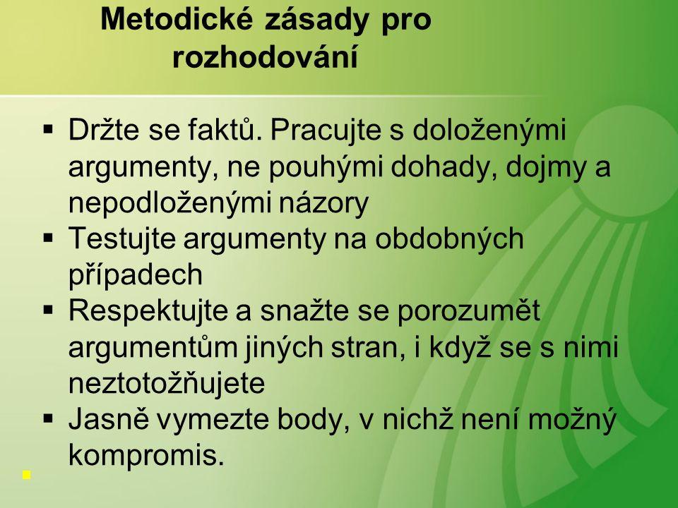 Metodické zásady pro rozhodování  Držte se faktů.