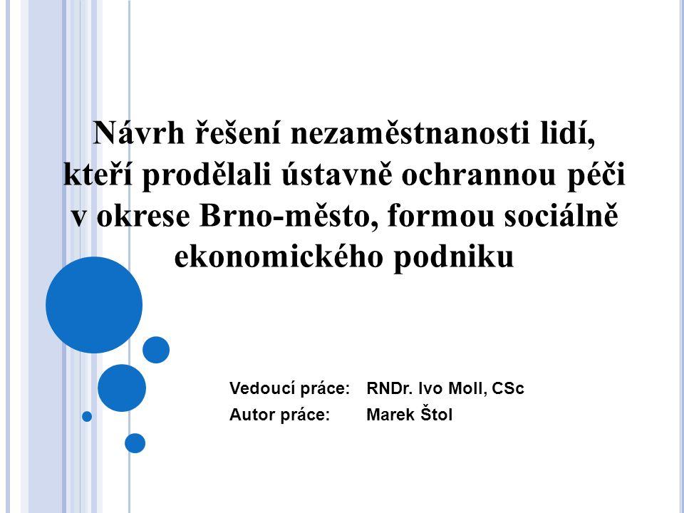 Návrh řešení nezaměstnanosti lidí, kteří prodělali ústavně ochrannou péči v okrese Brno-město, formou sociálně ekonomického podniku Vedoucí práce:RNDr.