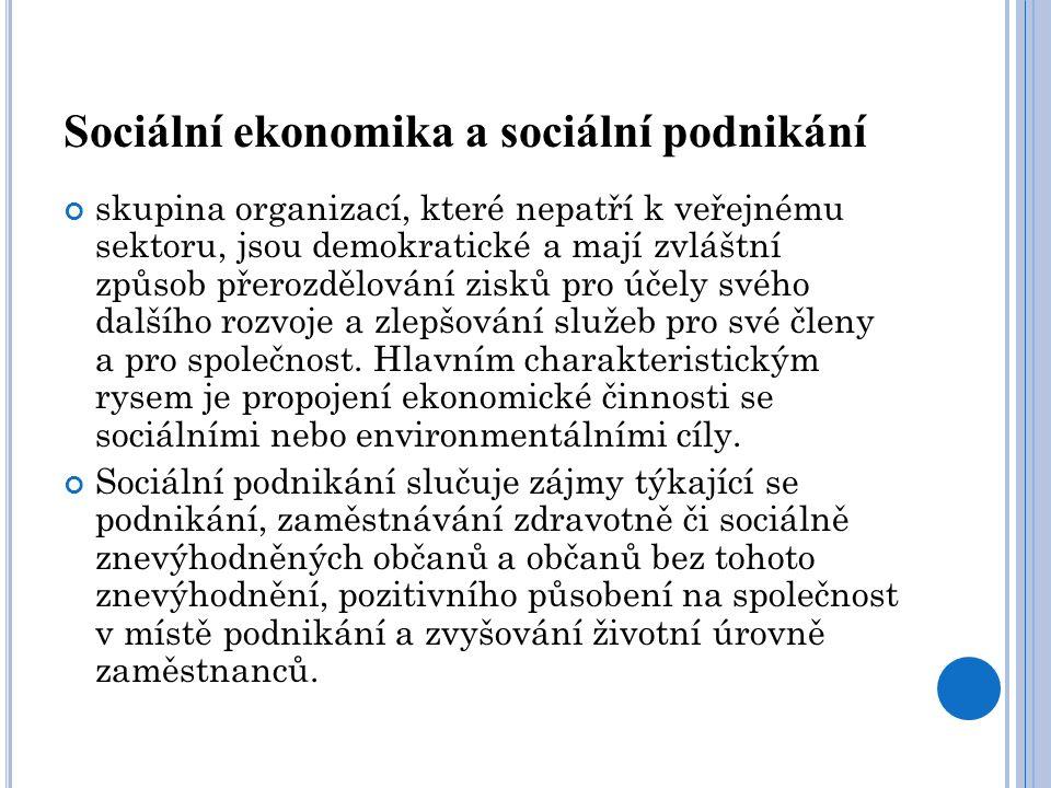 Sociální ekonomika a sociální podnikání skupina organizací, které nepatří k veřejnému sektoru, jsou demokratické a mají zvláštní způsob přerozdělování
