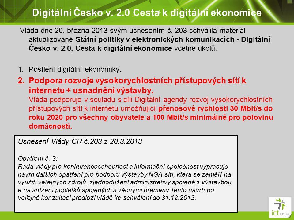 Digitální Česko v. 2.0 Cesta k digitální ekonomice Vláda dne 20.