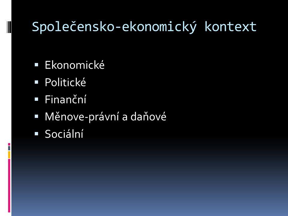 Společensko-ekonomický kontext  Ekonomické  Politické  Finanční  Měnove-právní a daňové  Sociální