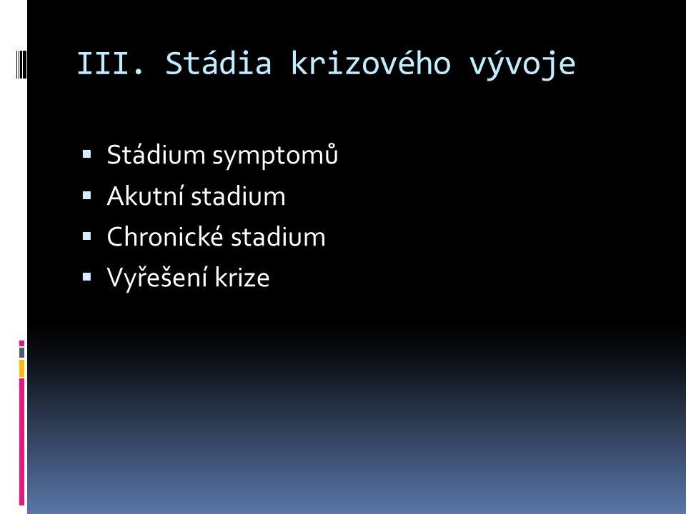 III. Stádia krizového vývoje  Stádium symptomů  Akutní stadium  Chronické stadium  Vyřešení krize