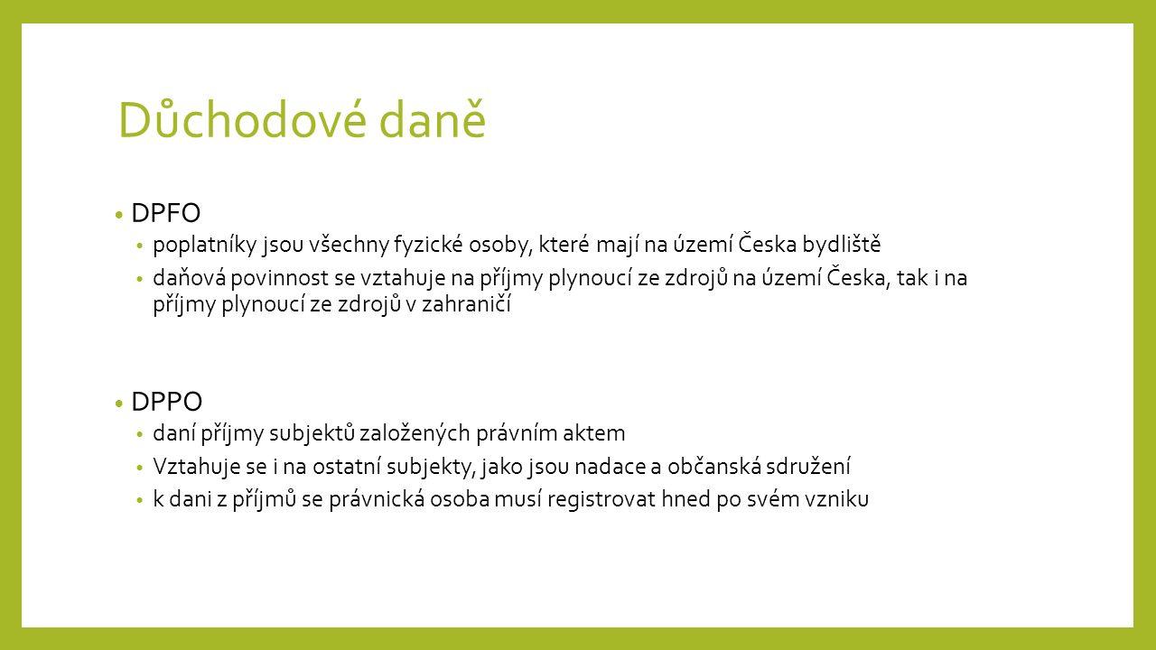 Důchodové daně DPFO poplatníky jsou všechny fyzické osoby, které mají na území Česka bydliště daňová povinnost se vztahuje na příjmy plynoucí ze zdrojů na území Česka, tak i na příjmy plynoucí ze zdrojů v zahraničí DPPO daní příjmy subjektů založených právním aktem Vztahuje se i na ostatní subjekty, jako jsou nadace a občanská sdružení k dani z příjmů se právnická osoba musí registrovat hned po svém vzniku