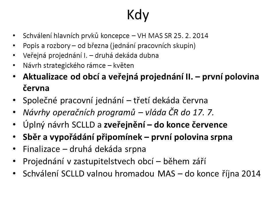 Kdy Schválení hlavních prvků koncepce – VH MAS SR 25. 2. 2014 Popis a rozbory – od března (jednání pracovních skupin) Veřejná projednání I. – druhá de