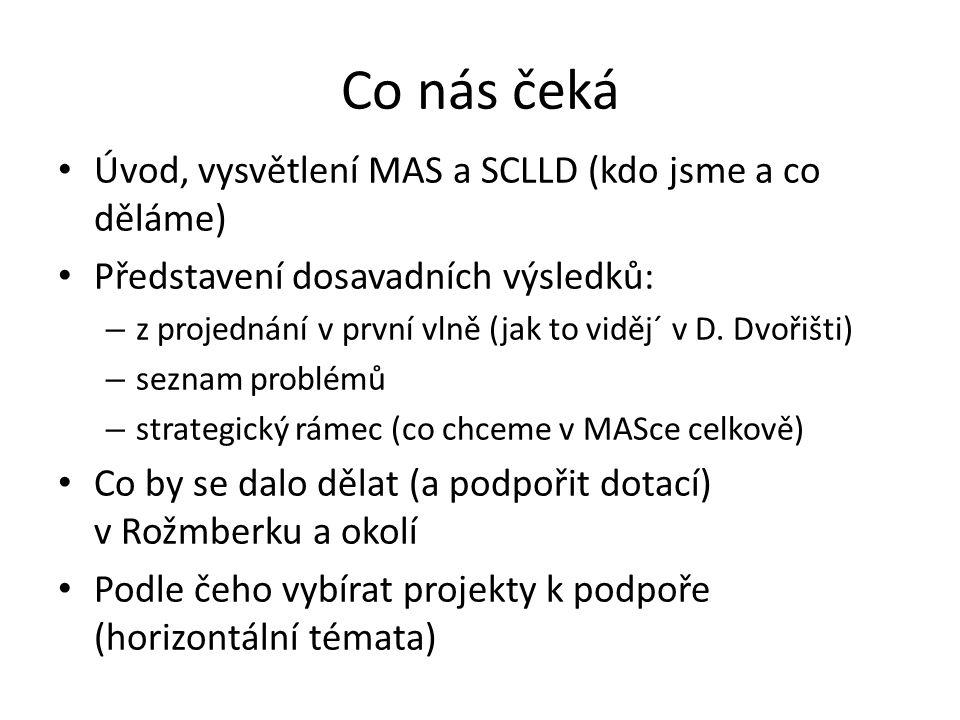 Co nás čeká Úvod, vysvětlení MAS a SCLLD (kdo jsme a co děláme) Představení dosavadních výsledků: – z projednání v první vlně (jak to viděj´ v D. Dvoř