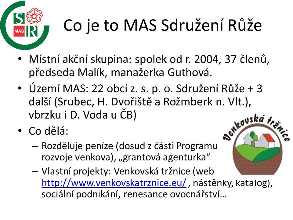 Co je to MAS Sdružení Růže Místní akční skupina: spolek od r. 2004, 37 členů, předseda Malík, manažerka Guthová. Území MAS: 22 obcí z. s. p. o. Sdruže