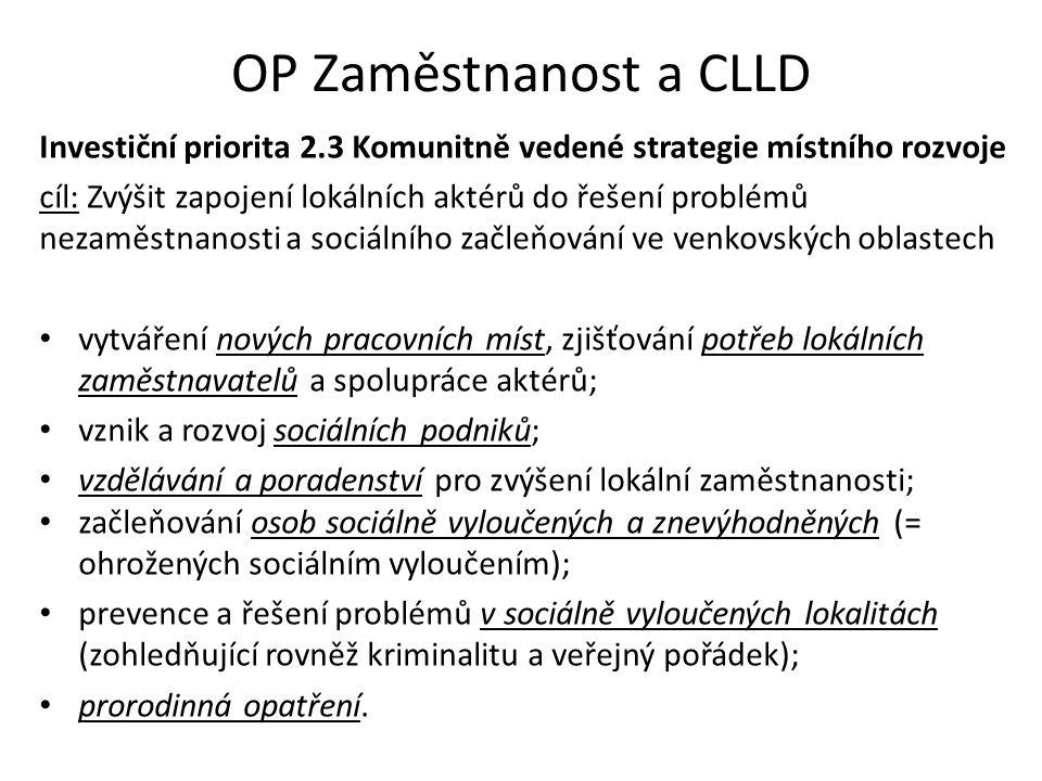 OP Zaměstnanost a CLLD Investiční priorita 2.3 Komunitně vedené strategie místního rozvoje cíl: Zvýšit zapojení lokálních aktérů do řešení problémů ne