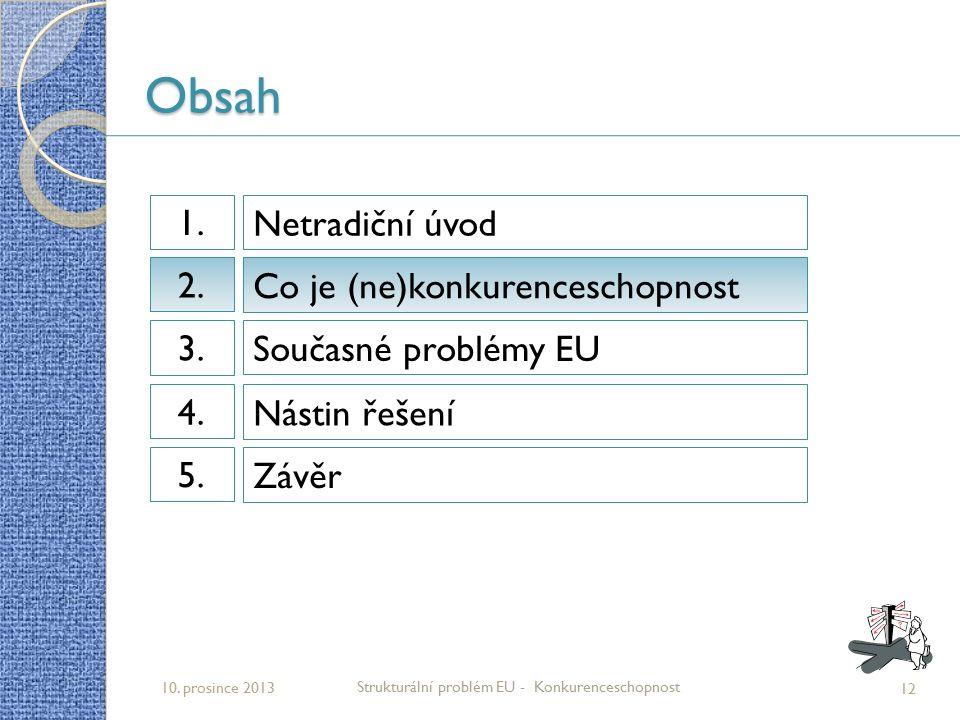 Obsah 12 Strukturální problém EU - Konkurenceschopnost 10. prosince 2013 Netradiční úvod 1.1. Co je (ne)konkurenceschopnost 2.2. Současné problémy EU