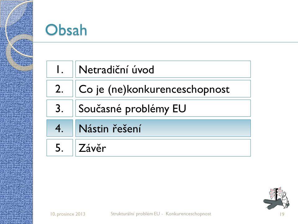 Obsah 19 Strukturální problém EU - Konkurenceschopnost 10. prosince 2013 Netradiční úvod 1.1. Co je (ne)konkurenceschopnost 2.2. Současné problémy EU