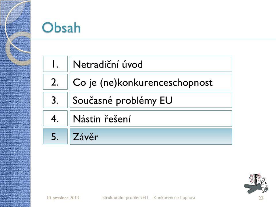 Obsah 23 Strukturální problém EU - Konkurenceschopnost 10. prosince 2013 Netradiční úvod 1.1. Co je (ne)konkurenceschopnost 2.2. Současné problémy EU