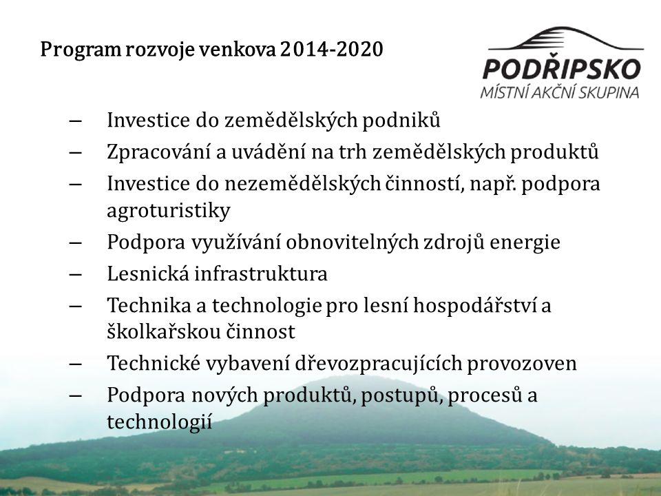 Program rozvoje venkova 2014-2020 – Investice do zemědělských podniků – Zpracování a uvádění na trh zemědělských produktů – Investice do nezemědělských činností, např.