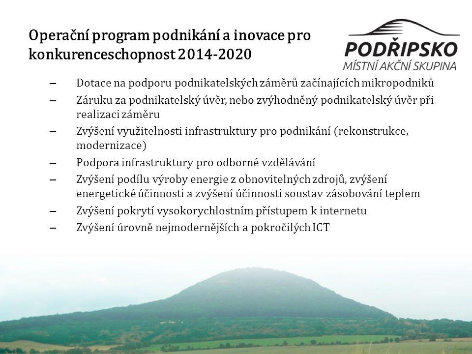 Operační program podnikání a inovace pro konkurenceschopnost 2014-2020 – Dotace na podporu podnikatelských záměrů začínajících mikropodniků – Záruku za podnikatelský úvěr, nebo zvýhodněný podnikatelský úvěr při realizaci záměru – Zvýšení využitelnosti infrastruktury pro podnikání (rekonstrukce, modernizace) – Podpora infrastruktury pro odborné vzdělávání – Zvýšení podílu výroby energie z obnovitelných zdrojů, zvýšení energetické účinnosti a zvýšení účinnosti soustav zásobování teplem – Zvýšení pokrytí vysokorychlostním přístupem k internetu – Zvýšení úrovně nejmodernějších a pokročilých ICT