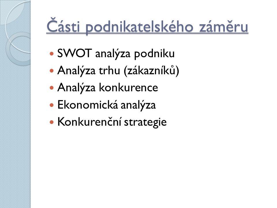 Části podnikatelského záměru SWOT analýza podniku Analýza trhu (zákazníků) Analýza konkurence Ekonomická analýza Konkurenční strategie