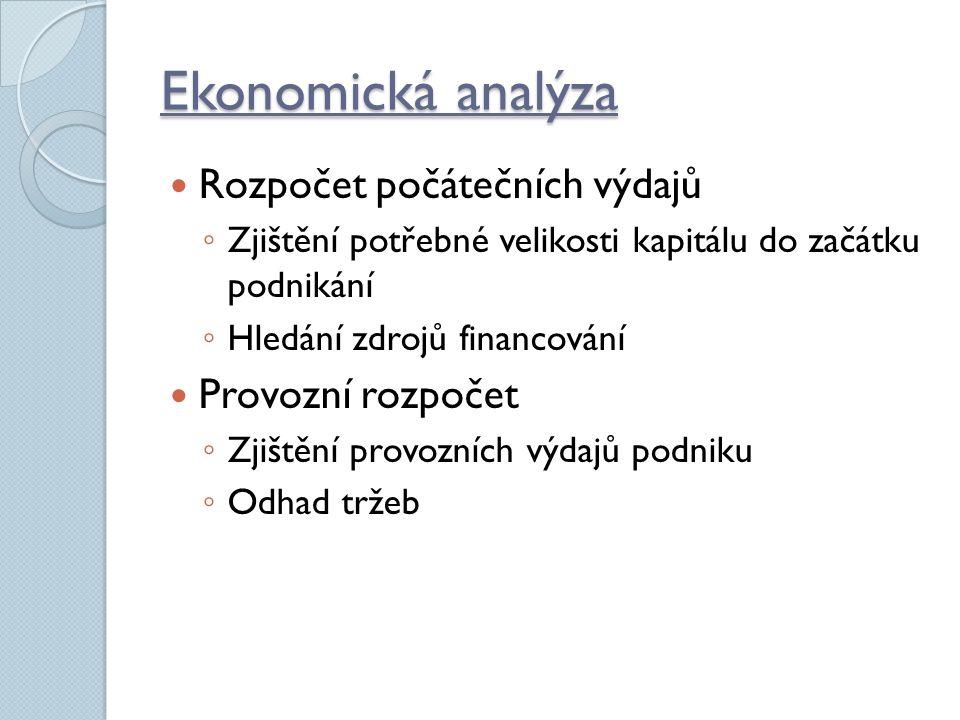 Ekonomická analýza Rozpočet počátečních výdajů ◦ Zjištění potřebné velikosti kapitálu do začátku podnikání ◦ Hledání zdrojů financování Provozní rozpočet ◦ Zjištění provozních výdajů podniku ◦ Odhad tržeb