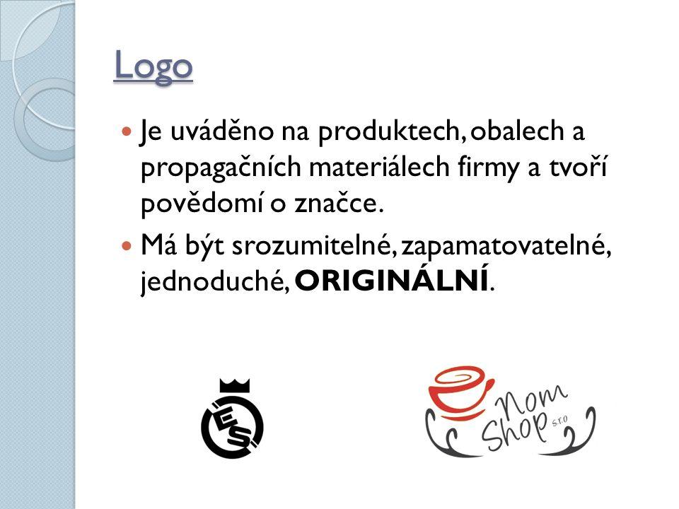 Logo Je uváděno na produktech, obalech a propagačních materiálech firmy a tvoří povědomí o značce.