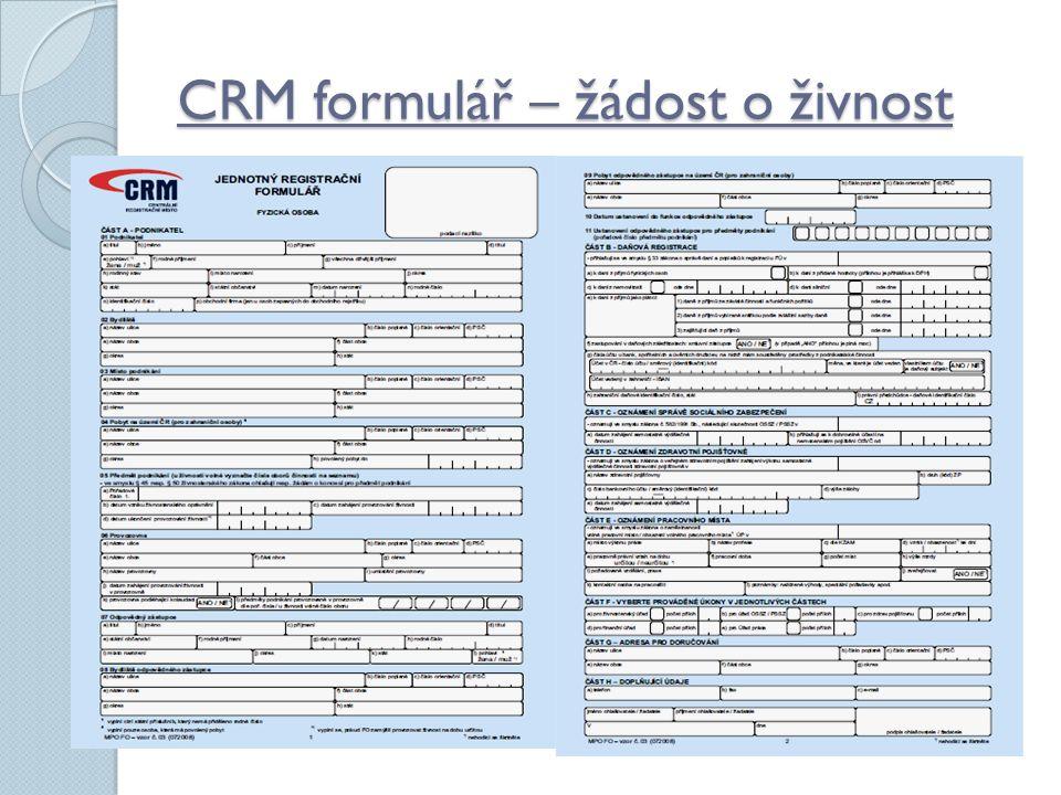 CRM formulář – žádost o živnost