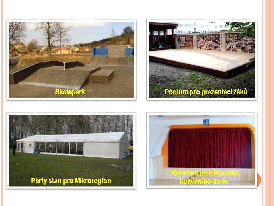 SkateparkPódium pro prezentaci žáků Párty stan pro Mikroregion Vybavení jeviště a sálu kulturního domu