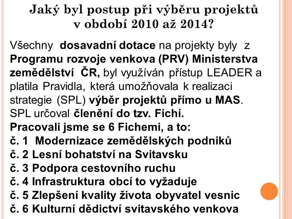Jaký byl postup při výběru projektů v období 2010 až 2014? Všechny dosavadní dotace na projekty byly z Programu rozvoje venkova (PRV) Ministerstva zem