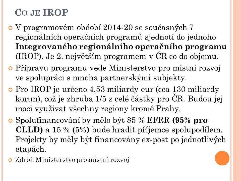 C O JE IROP V programovém období 2014-20 se současných 7 regionálních operačních programů sjednotí do jednoho Integrovaného regionálního operačního programu (IROP).