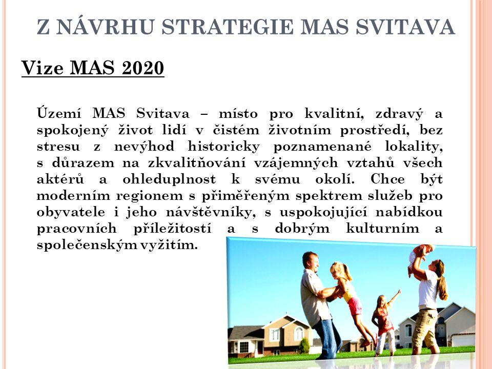 Z NÁVRHU STRATEGIE MAS SVITAVA Vize MAS 2020 Území MAS Svitava – místo pro kvalitní, zdravý a spokojený život lidí v čistém životním prostředí, bez st