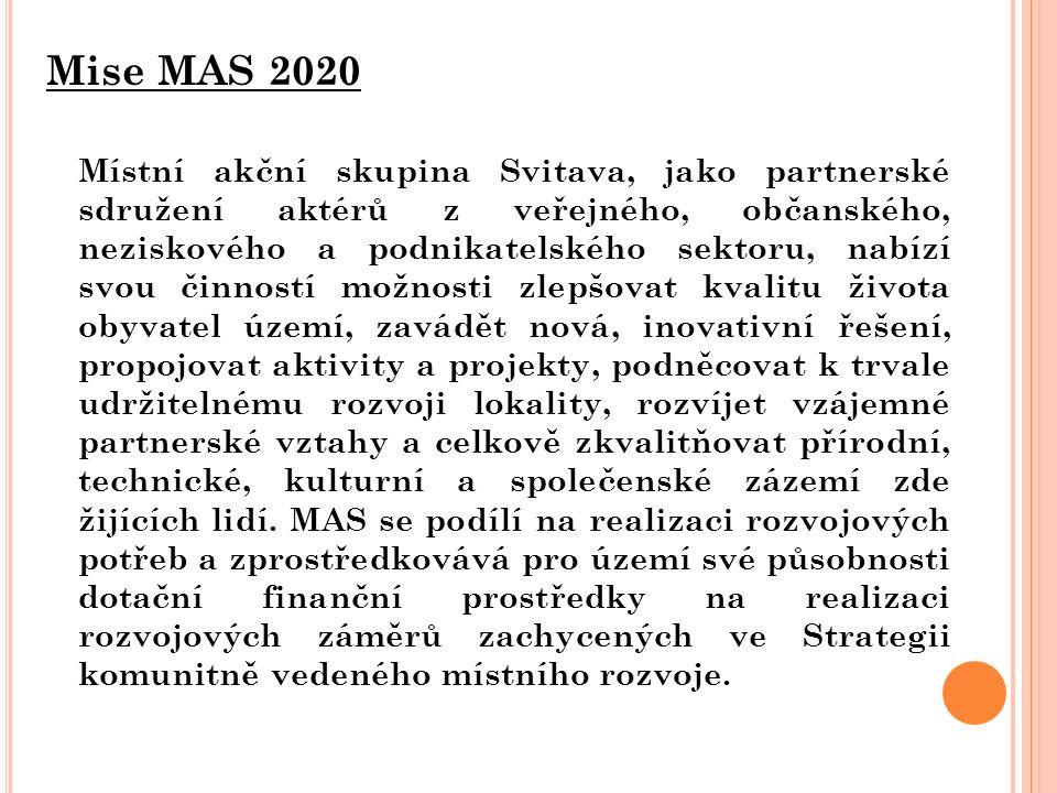 Mise MAS 2020 Místní akční skupina Svitava, jako partnerské sdružení aktérů z veřejného, občanského, neziskového a podnikatelského sektoru, nabízí svou činností možnosti zlepšovat kvalitu života obyvatel území, zavádět nová, inovativní řešení, propojovat aktivity a projekty, podněcovat k trvale udržitelnému rozvoji lokality, rozvíjet vzájemné partnerské vztahy a celkově zkvalitňovat přírodní, technické, kulturní a společenské zázemí zde žijících lidí.