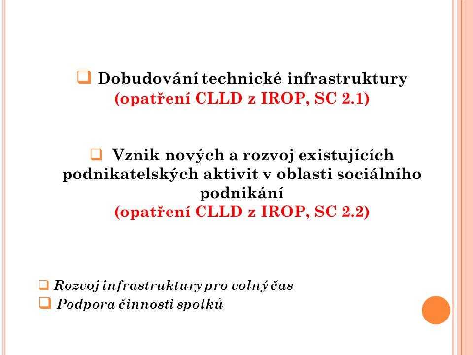  Dobudování technické infrastruktury (opatření CLLD z IROP, SC 2.1)  Vznik nových a rozvoj existujících podnikatelských aktivit v oblasti sociálního podnikání (opatření CLLD z IROP, SC 2.2)  Rozvoj infrastruktury pro volný čas  Podpora činnosti spolků