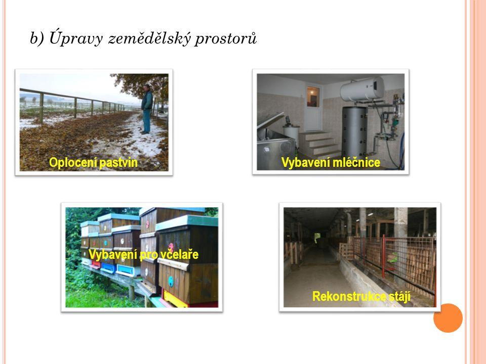 b) Úpravy zemědělský prostorů Oplocení pastvin Vybavení pro včelaře Vybavení mléčnice Rekonstrukce stájí
