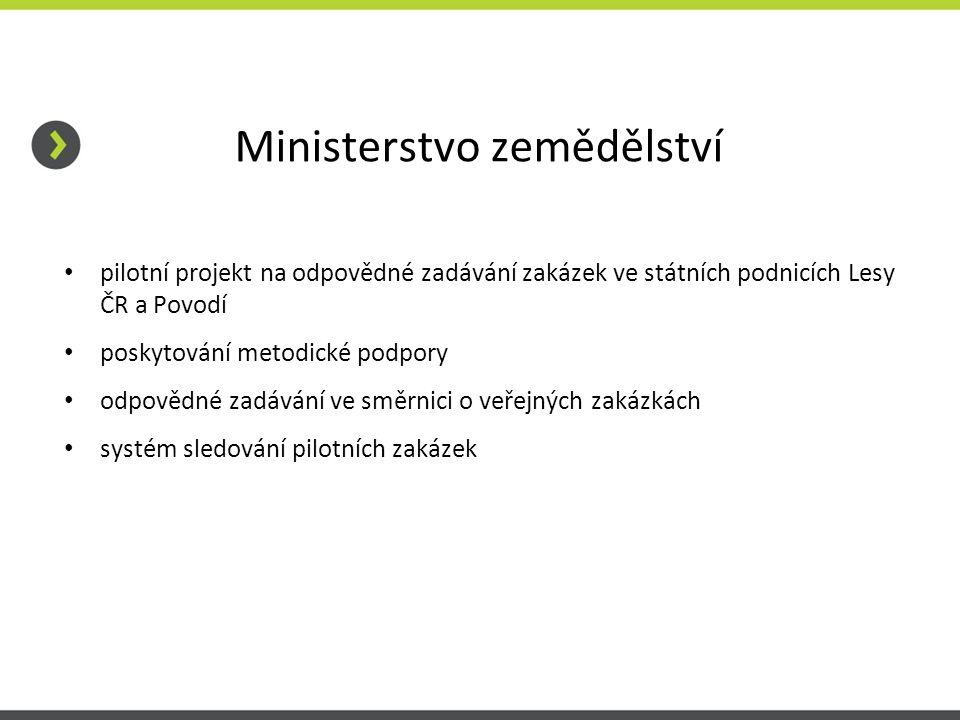 Ministerstvo zemědělství pilotní projekt na odpovědné zadávání zakázek ve státních podnicích Lesy ČR a Povodí poskytování metodické podpory odpovědné zadávání ve směrnici o veřejných zakázkách systém sledování pilotních zakázek