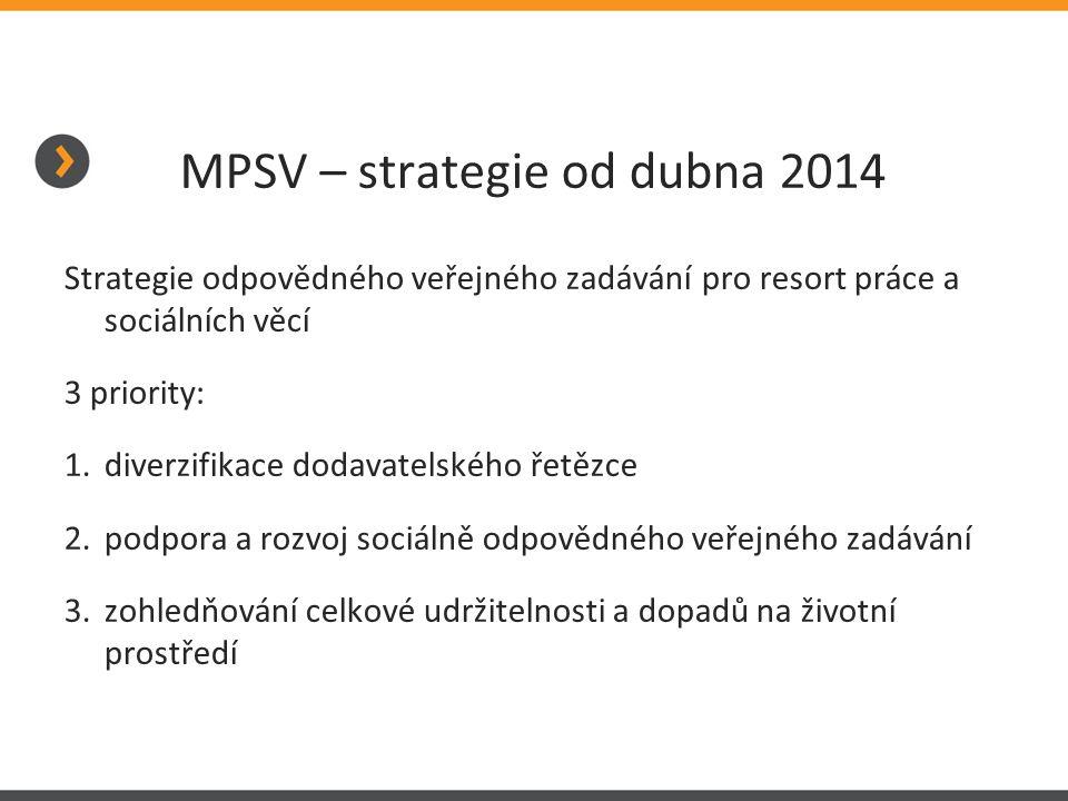 MPSV – strategie od dubna 2014 Strategie odpovědného veřejného zadávání pro resort práce a sociálních věcí 3 priority: 1.diverzifikace dodavatelského řetězce 2.podpora a rozvoj sociálně odpovědného veřejného zadávání 3.zohledňování celkové udržitelnosti a dopadů na životní prostředí
