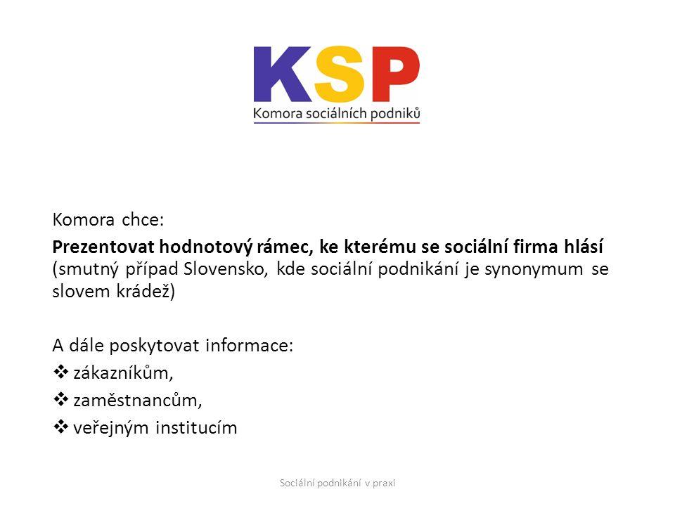 Komora chce: Prezentovat hodnotový rámec, ke kterému se sociální firma hlásí (smutný případ Slovensko, kde sociální podnikání je synonymum se slovem krádež) A dále poskytovat informace:  zákazníkům,  zaměstnancům,  veřejným institucím Sociální podnikání v praxi
