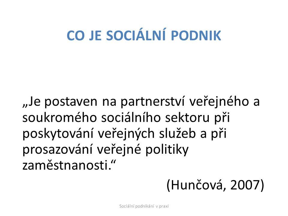 """""""Je postaven na partnerství veřejného a soukromého sociálního sektoru při poskytování veřejných služeb a při prosazování veřejné politiky zaměstnanosti. (Hunčová, 2007) CO JE SOCIÁLNÍ PODNIK Sociální podnikání v praxi"""