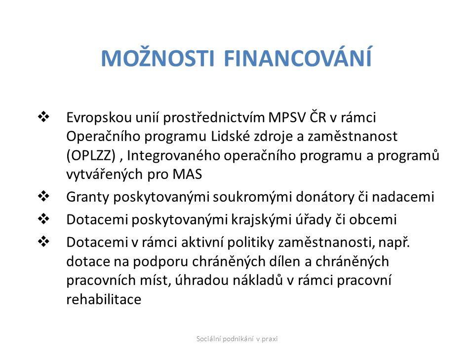  Evropskou unií prostřednictvím MPSV ČR v rámci Operačního programu Lidské zdroje a zaměstnanost (OPLZZ), Integrovaného operačního programu a programů vytvářených pro MAS  Granty poskytovanými soukromými donátory či nadacemi  Dotacemi poskytovanými krajskými úřady či obcemi  Dotacemi v rámci aktivní politiky zaměstnanosti, např.