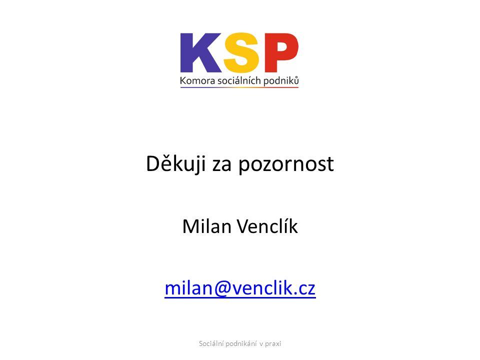 Děkuji za pozornost Milan Venclík milan@venclik.cz Sociální podnikání v praxi