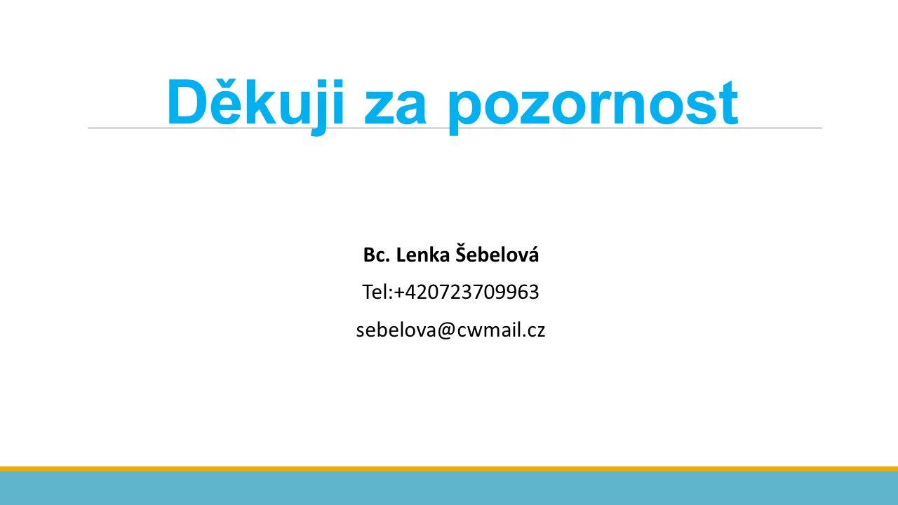 Děkuji za pozornost Bc. Lenka Šebelová Tel:+420723709963 sebelova@cwmail.cz