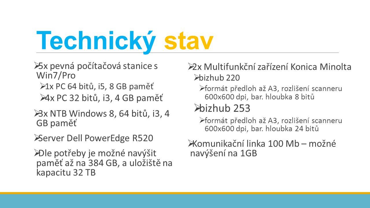  5x pevná počítačová stanice s Win7/Pro  1x PC 64 bitů, i5, 8 GB paměť  4x PC 32 bitů, i3, 4 GB paměť  3x NTB Windows 8, 64 bitů, i3, 4 GB paměť  Server Dell PowerEdge R520  Dle potřeby je možné navýšit paměť až na 384 GB, a uložiště na kapacitu 32 TB  2x Multifunkční zařízení Konica Minolta  bizhub 220  formát předloh až A3, rozlišení scanneru 600x600 dpi, bar.