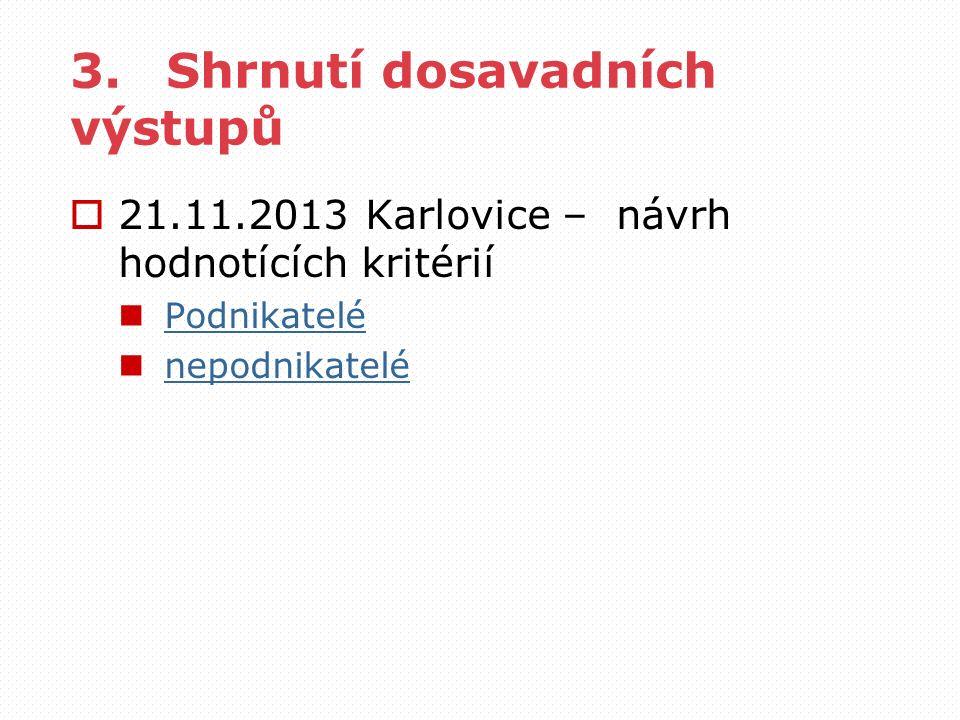 3.Shrnutí dosavadních výstupů  21.11.2013 Karlovice – návrh hodnotících kritérií Podnikatelé nepodnikatelé