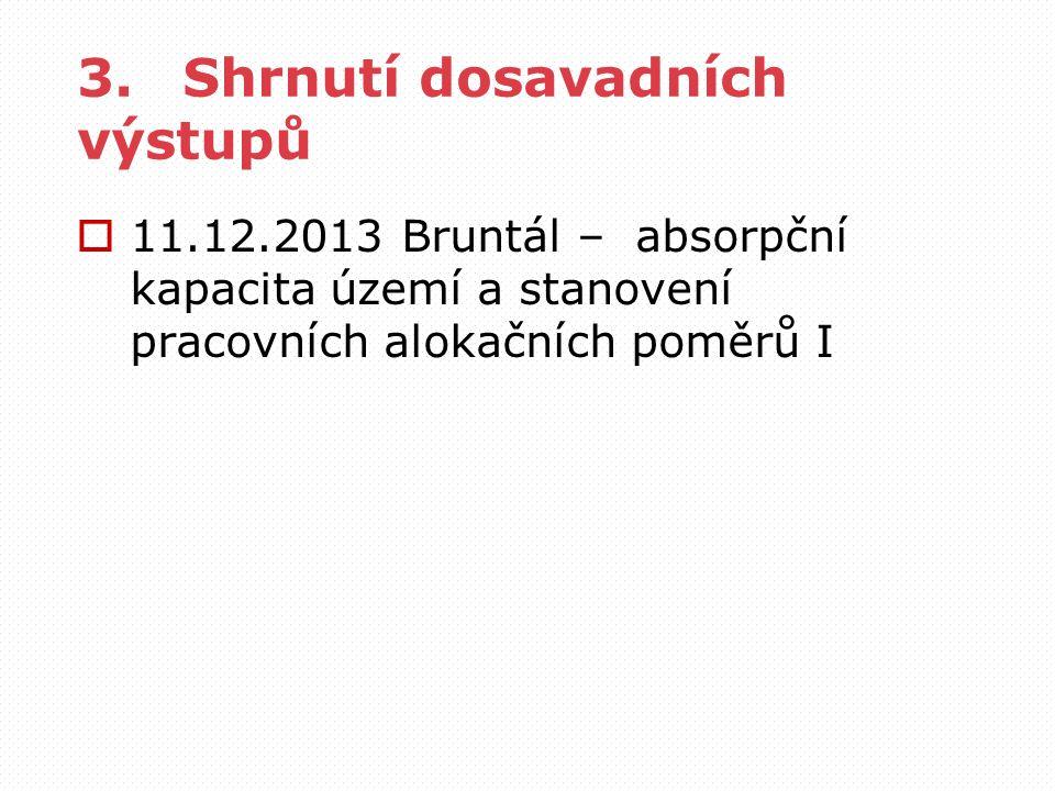 3.Shrnutí dosavadních výstupů  11.12.2013 Bruntál – absorpční kapacita území a stanovení pracovních alokačních poměrů I