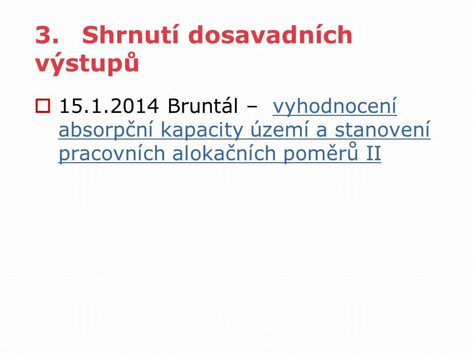 3.Shrnutí dosavadních výstupů  15.1.2014 Bruntál – vyhodnocení absorpční kapacity území a stanovení pracovních alokačních poměrů IIvyhodnocení absorp