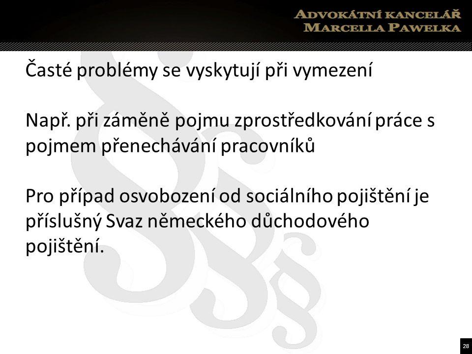 28 Časté problémy se vyskytují při vymezení Např.