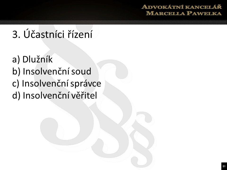51 3. Účastníci řízení a) Dlužník b) Insolvenční soud c) Insolvenční správce d) Insolvenční věřitel