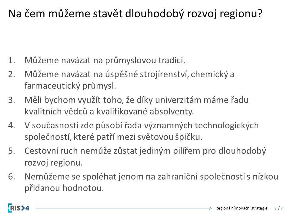Na čem můžeme stavět dlouhodobý rozvoj regionu? 1.Můžeme navázat na průmyslovou tradici. 2.Můžeme navázat na úspěšné strojírenství, chemický a farmace